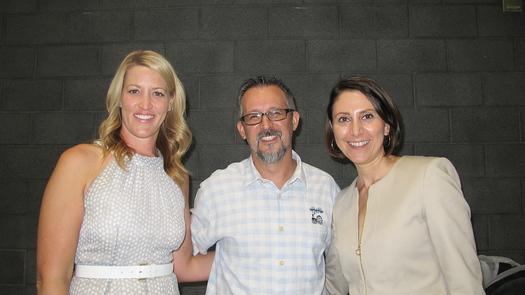 Principal Carrie Hetzel, teacher Rob Hajek and Assistant Superintendent Anais Wenn
