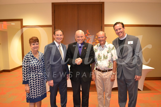 Sophie Miller Foundation President Robin McCarthy, MonteCedro President and CEO James Rothrock, speaker Bishop John Taylor, Sherm Telleen and Brian O'Rourke participated in MonteCedro's event.
