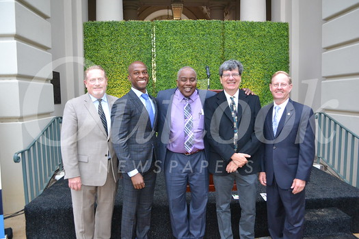 Pasadena Educational Foundation Executive Director Patrick Conyers, Pasadena City Councilman Tyron Hamilton, PUSD Superintendent Brian McDonald, PUSD Board of Education President Larry Torres and former Tournament of Roses President Lance Tibbet