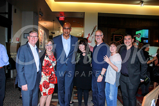 Board President Jim Moore, CEO Anne Miskey, Assemblyman Chris Holden, Dana Bean, Rob Levy, Leslie Levy and chef Michael Hung
