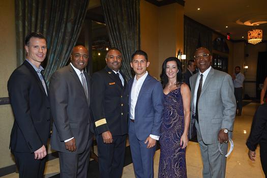 Brandon Road, Willie Wright, Fire Chief Bertral Washington, Pasadena Fire Foundation board chair Daniel Arias, gala chair Carla Buigues and James Nash