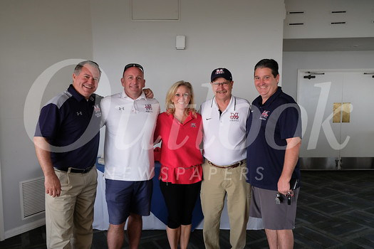 Head of School Steven Sherman, assistant athletic director Eddie Arnett, event coordinator DeDe Cook, athletic booster board member Tom Skidmore and athletic director Sammy Skinner