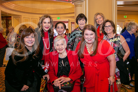 Rachael Worby, Terri Kohl, Judy Beckmen, Carol Henry, Ileana Cataldo, LeeAnn Havner with honoree Alyce de Roulet Williamson (front center) and Annette Ermshar