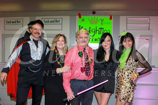 Mardi Gras co-chair Mark Hafeman, Queen and King Hope and Dr. Dino Clarizio, and co-chairs Patty Soldo and Sophia Chan