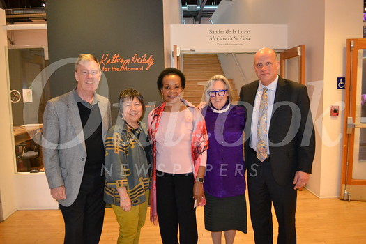 PCC Board of Trustees members Hoyt Hilsman, Linda Wah, Berlinda Brown and Jim Osterling with featured artist Sigrid Burton.