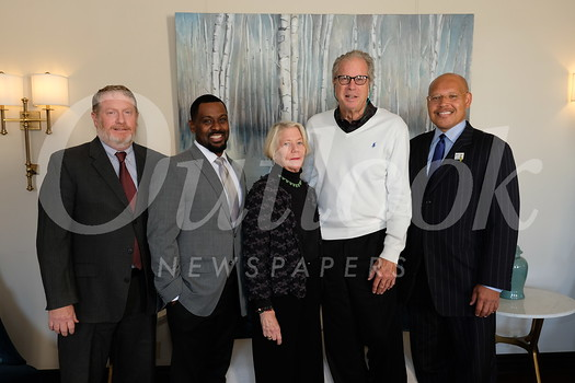 Pasadena Educational Foundation Executive Director Patrick Conyers, event chair LaWayne Williams, PUSD supporters Margaret and Keith Russell, and Vice Mayor John Kennedy