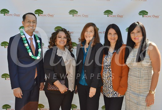Pacific Oaks College & Children's School President Jack Paduntin with student government association members Rosalba Estrella, Lisa Moss, Darlene Shicarenko and Melissa Valle