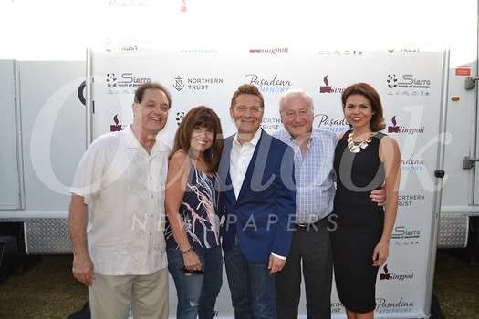 Ted and Marsha Slavin, Pasadena Pops conductor Michael Feinstein, Irwin Helford and Lora Unger