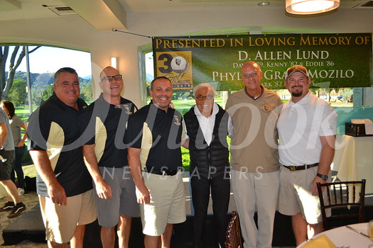 Rick Dinger, Mark Mozilo, Eric Mozilo, Angelo Mozilo, Father Tony Marti and Kevin Danni