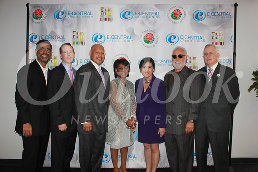 Danny Bakewell Jr., Kristina Smith, Evan Hitchcock, Pasadena Vice Mayor John J. Kennedy, Congresswomen Maxine Waters and Judy Chu, Danny Bakewell Sr., Lena L. Kennedy and E-Central Board Chair Mark Garmus