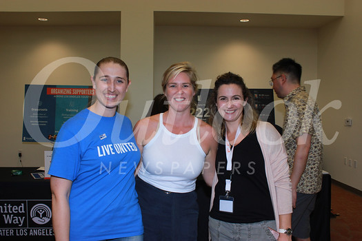 Lizzy Paulson of the United Way of Greater Los Angeles, Katie Burbank of Yelp and Eugenie Le Page of Hotel Constance.