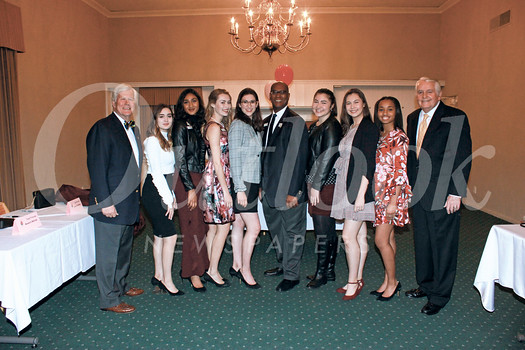 City Club President Richard Pearson, Princesses Helen Rossi, Rucha Kadam and Lauren Baydaline; Queen Louise Siskel, Craig Washington, Princesses Micaela McElrath, Sherry Ma and Ashley Hackett; and Jim Angelos