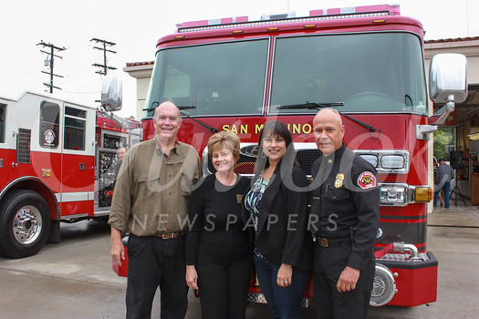 Mayor Steve Talt, City Councilwoman Susan Jakubowski, City Manager Marcella Marlowe and Fire Chief Mario Rueda